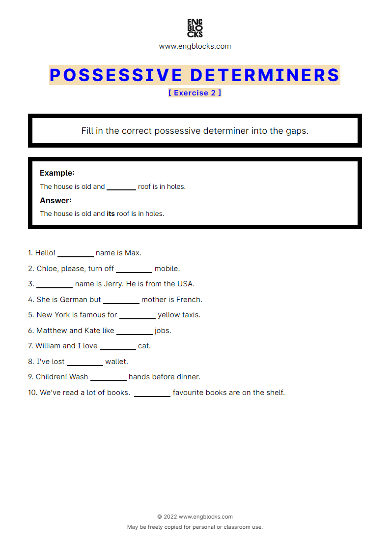Grammar Worksheet: Possessive determiners — Exercise 2 (black & white)