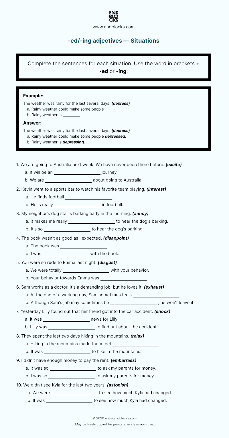 Grammar Worksheet: -ed/-ing adjectives — Situations (in color)